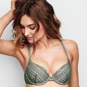 NWOT Victoria's Secret Lace Lined Demi Bra 32D💚